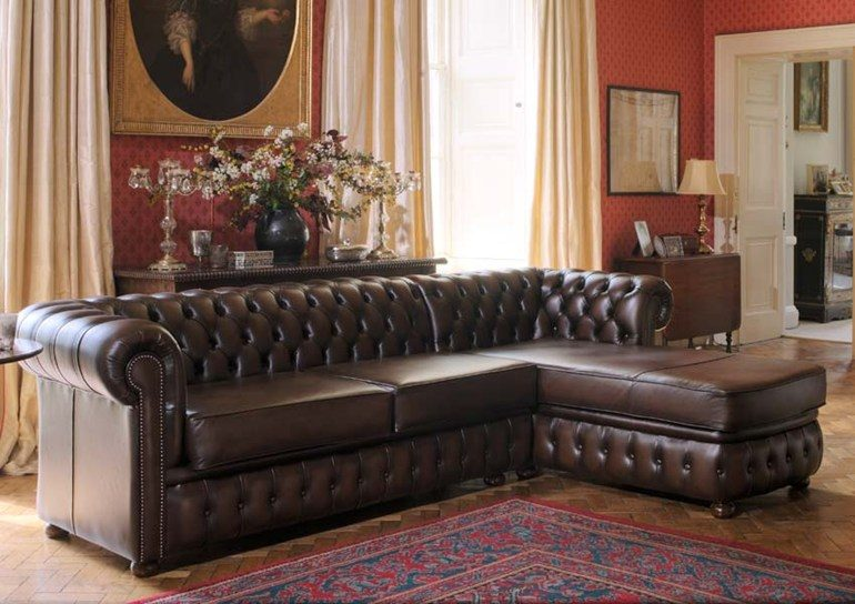 Canap chester con chaise longue im genes y fotos for Sofas de piel con chaise longue