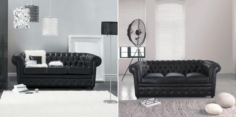 Galer a de im genes sof s chesterfield - Sofa cuero negro ...