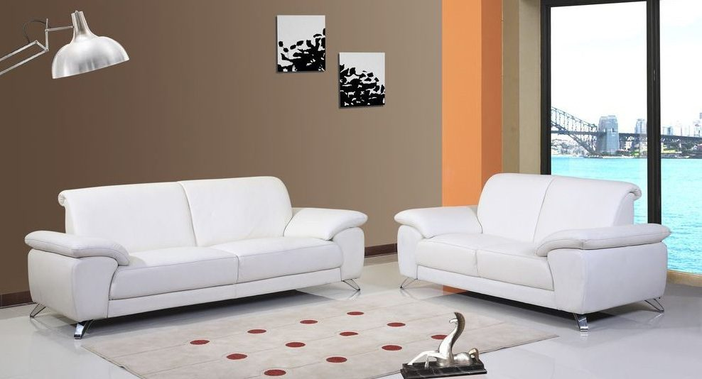 conjunto de sofs estilo moderno en cuero blanco