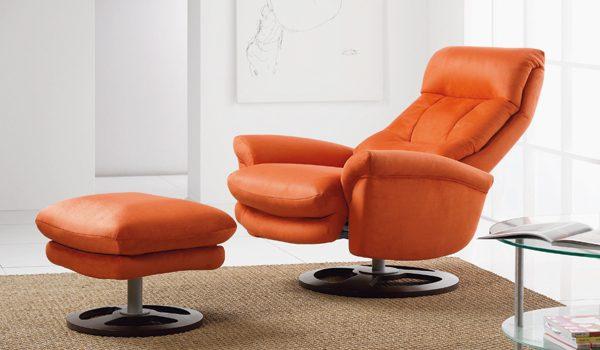 Sillón relax de cuero naranja :: Imágenes y fotos