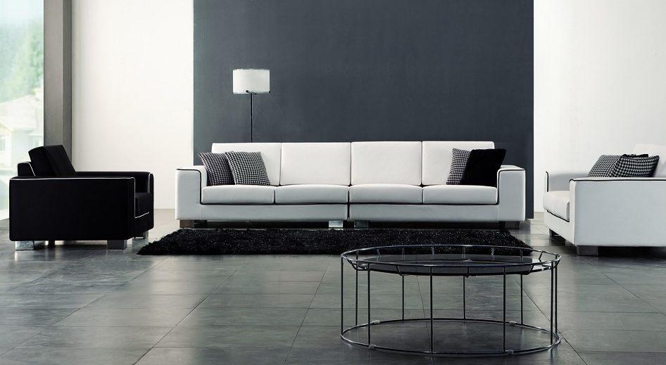 sof blanco con pinceladas negras - Sofas De Diseo