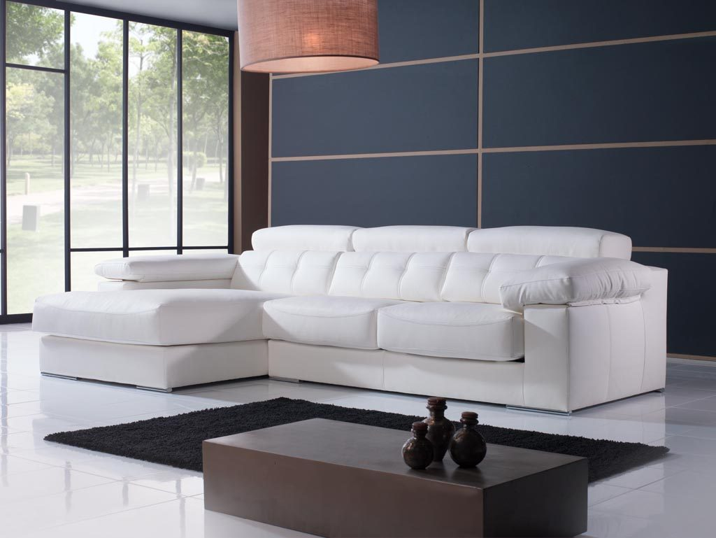 Sof chaise longue blanco im genes y fotos for Sofa chester chaise longue