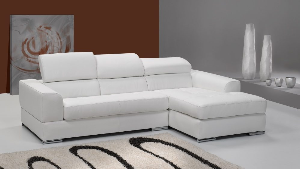 Sof s de cuero for Sofa blanco barato