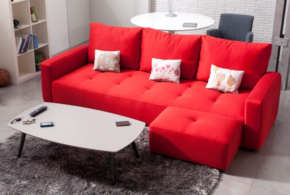 Sof chaiselongue rojo im genes y fotos for Sofas de piel con cheslong