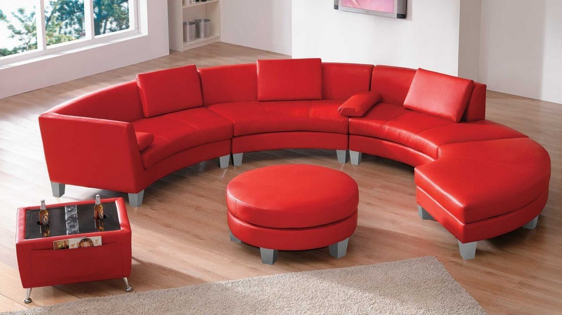Sofu00e1 circular moderno en rojo :: Imu00e1genes y fotos
