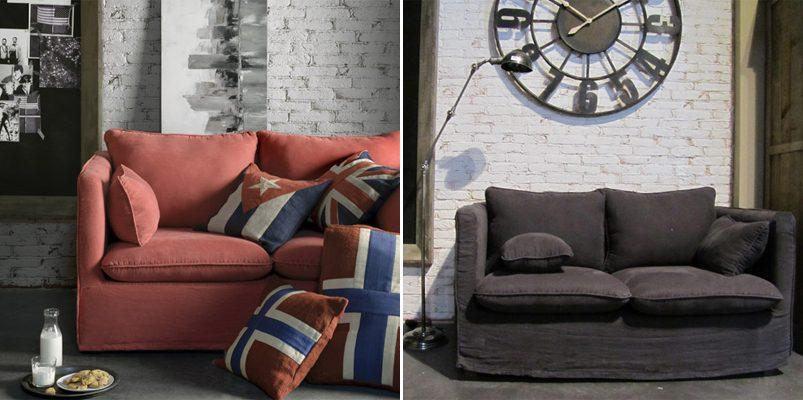 sof de dos plazas de tela