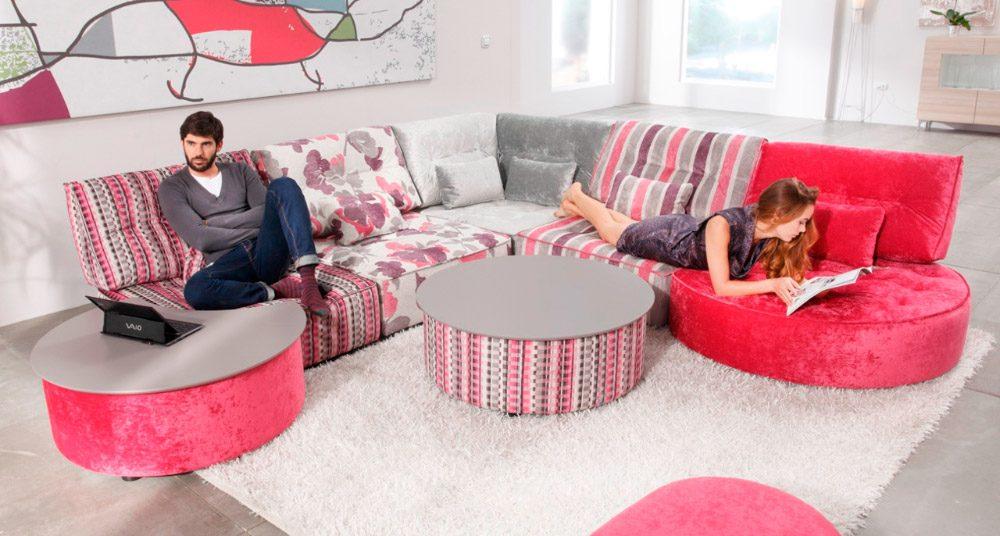 Sofá modular en gris y rosa :: Imágenes y fotos