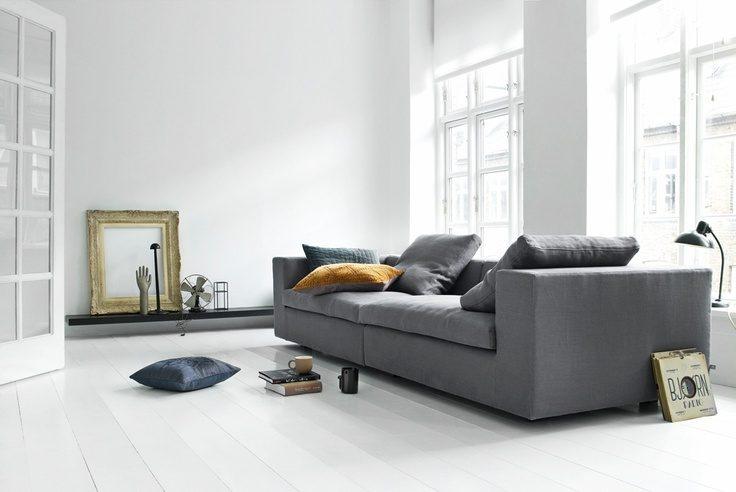 Sof s grises - Salones con sofa negro ...